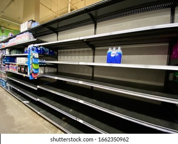 Bethesda, Maryland / USA - Feb. 29, 2020: A Whole Foods store in Chevy Chase is partially empty due to panic and fear related to the outbreak of the COVID-19 coronavirus in the United States.