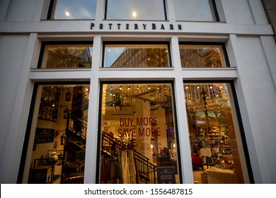 Bethesda, Maryland / USA - Nov. 10, 2019: A Pottery Barn store on Bethesda Avenue sells home goods, furniture and other household items.