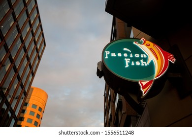 Bethesda, Maryland / USA - Nov. 10, 2019: Passion Fish is a seafood-focused eatery with sushi & Asian-influenced entrees in sleek space with aquatic paintings.