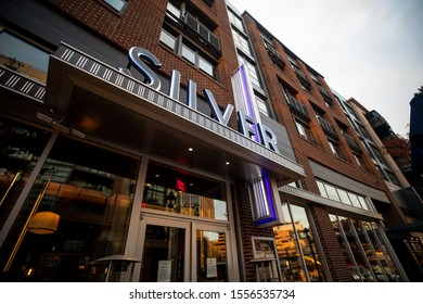 Bethesda, Maryland / USA - Nov. 10, 2019: Silver is a new restaurant on Bethesda Row that is a more upscale version of the famous Silver Diner.