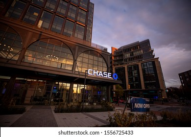 Bethesda, Maryland / USA - Nov. 10, 2019: JPMorgan Chase Bank, N.A., doing business as Chase Bank, is a national bank headquartered in Manhattan, New York City with a branch in downtown Bethesda.