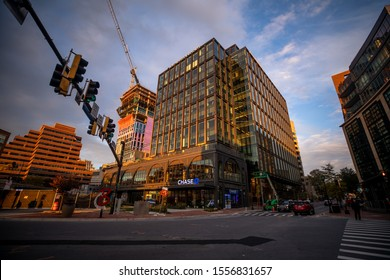 Bethesda, Maryland / USA - Nov. 10, 2019: A view of the intersection between Bethesda Avenue and Old Georgetown Road, a popular area for shops, restaurants and businesses outside of Washington, D.C.