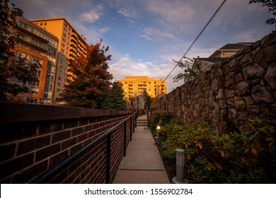 Bethesda, Maryland / USA - Nov. 10, 2019: A trail leads through the neighborhoods of downtown Bethesda, an area right outside of Washington, D.C.