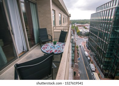 Bethesda, Maryland / USA - October 3, 2019: A view of downtown Bethesda, a popular shopping and dining neighborhood minutes from Washington, D.C., from atop a high rise apartment building.