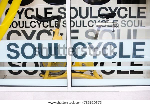 Bethesda, MD - December 30, 2017: The indoor cycling gym SoulCycle has a branch on Elm Street in downtown Bethesda.