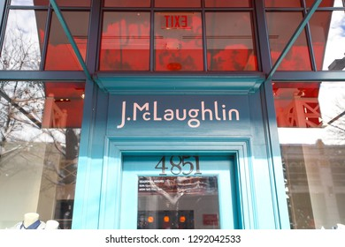 Bethesda, MD - January 15, 2019: The entrance to the J.McLaughlin store on Bethesda Row, a high end expensive boutique for fashionable clothing.