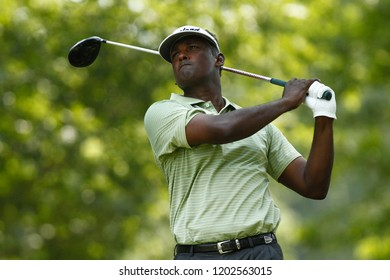 BETHESDA, MD - JULY 1, 2012: Vijay Singh tees off on the 1st hole during the final round of the AT&T National at Congressional Country Club.