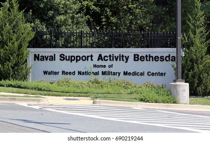 BETHESDA, MD - JULY 19: An entrance to the Walter Reed National Military Medical Center in Bethesda, Maryland on July 19, 2017. Walter Reed is the top military medical center in the United States.