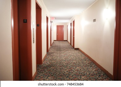 Bethesda, MD - November 2, 2017: A hallway in an apartment complex.