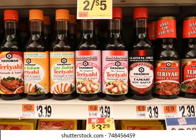 Bethesda, MD - November 2, 2017: Teriyaki sauce for sale at the grocery store.
