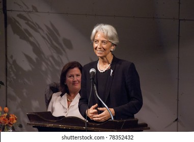 BETHESDA, MD - OCTOBER 20 : Christine Lagarde, Minister of Economic Affairs, Finances and Industry of France, speaks at the Holton-Arms School, October 20, 2007, in Bethesda, Maryland