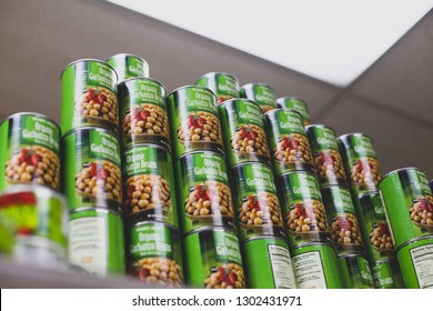 Bethesda, MD / USA - February 2, 2019: A stack of canned chickpeas on a shelf at a Trader Joe's store along Wisconsin Avenue in Montgomery County, Maryland.