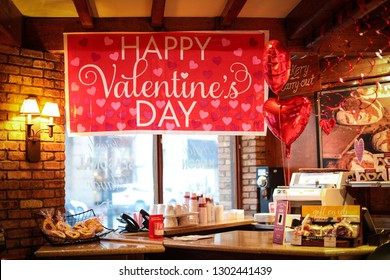 Bethesda, MD / USA - February 2, 2019: La Madeleine Country French Cafe is decorated in the spirit of Valentine's Day.