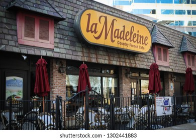 Bethesda, MD / USA - February 2, 2019: La Madeleine Country French Cafe has a restaurant and a bakery and is open year-round.