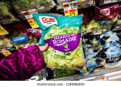 Bethesda, MD  / USA - January 14, 2018: A Giant grocery store chain restocks its shelves with romaine lettuce after an E. coli outbreak forced many stores to remove the lettuce from their inventory.