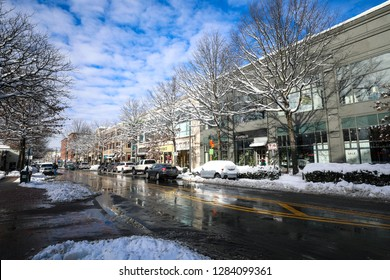Bethesda, MD / USA - January 14, 2019: Snow blankets downtown Bethesda after Winter Storm Gia passes over the region, covering Montgomery County with a foot of snow, closing down most businesses.