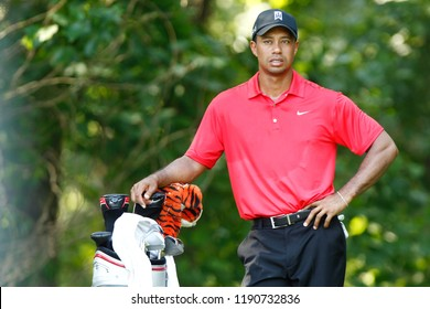 BETHESDA, MD-JUL 1: Tiger Woods waits to tee off on the 13th hole during the final round of the AT&T National on July 1, 2012 at Congressional Country Club in Bethesda, Maryland.