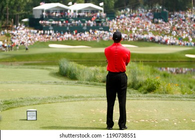 BETHESDA, MD-JULY 1, 2012: Tiger Woods studies the 10th hole before teeing off during the final round of the AT&T National at Congressional Country Club.