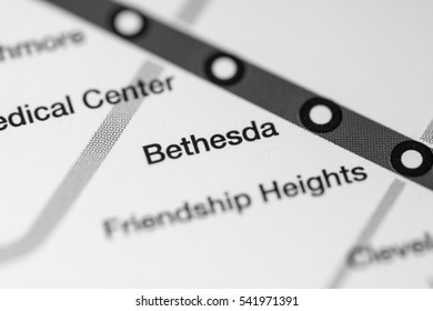 Bethesda Station. Washington DC Metro map.