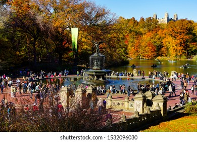 The Bethesda Terrace and Bethesda Fountain in Central Park in the Autumn with red and yellow leaves changing color at the peak of the fall foliage season. Manhattan, New York, November 8, 2015