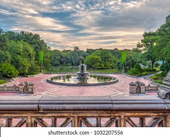 Bethesda Terrace and Fountain overlook The Lake in New York City's Central Park.