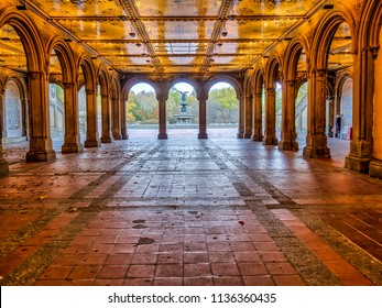 Bethesda Terrace and tunnel overlook  in New York City's Central Park.