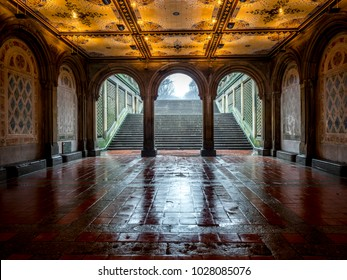 Bethesda tunnel during rain storm with fog in Central Park