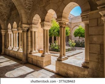 BETHLEHEM, ISRAEL - JULY 12, 2015: The gothic corridor of atrium at St. Catharine church