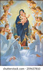 BETHLEHEM, ISRAEL - MARCH 6, 2015: The Madonna among angels from 20.cent. in Syrian orthodox church as a copy of glorious francais painter William Bouguereau.