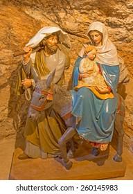 "BETHLEHEM, ISRAEL - MARCH 6, 2015: The carved sculpture of Holy Family in ""Milk Grotto""."