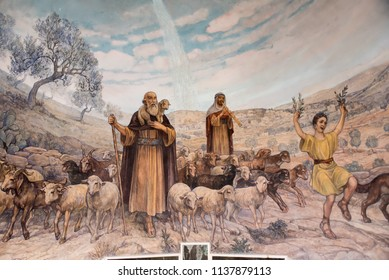 Bethlehem May 20  2018: Mural in the  Franciscan Church of the Shepherds' Field near Bethlehem, of the shepherds rejoicing when the angels told them of the birth of Jesus Christ in this spot.