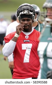 BETHLEHEM, PA - AUG 2: Philadelphia Eagles quarterback #7 Michael Vick practices at the Eagles training camp held  August 2, 2010 at Lehigh University in Bethlehem, Pennsylvania