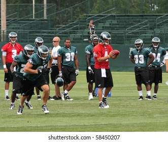 BETHLEHEM, PA - AUG 2: Philadelphia Eagles quarterback #4 Kevin Kolb practices at the Eagles training camp held August 2, 2010 at Lehigh University in Bethlehem, Pennsylvania