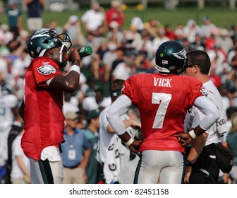 BETHLEHEM, PA - AUG 8: Philadelphia Eagles quarterback #7 Michael Vick and  #9 Vince Young practice at the Eagles training camp held August 8, 2011 at Lehigh University in Bethlehem, Pennsylvania