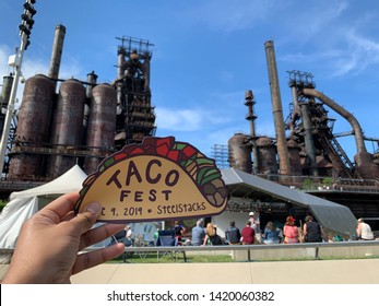 Bethlehem, PA - July 9 2019: Taco Festival in town with steel stacks in background