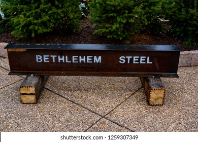 Bethlehem, PA, USA - December 9, 2018:  A Bethlehem Steel girder on display at Christkindlmarket. The Christmas market is held at Steel Stacks, a campus that hosts festivals, concerts & events.