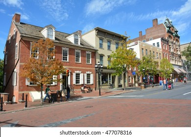 BETHLEHEM, PA, USA - SEPTEMBER 27, 2015. Street view on Main Street in Bethlehem, PA, with historic buildings, commercial properties and people.