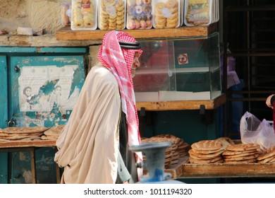 Bethlehem / Palestine - 01 15 2016: An old Palestinian man walking down to the manger square in Bethlehem