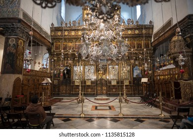 Bethlehem, Palestine - December 24 2017: The interior of Church of the Nativity on Christmas Eve.
