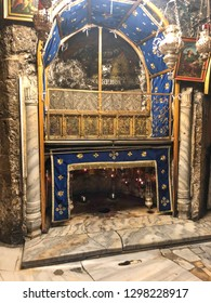 BETHLEHEM, PALESTINE - JANUARY 22, 2019: Grotto Over Cave Where Jesus Christ was Born. Church of the Nativity Bethlehem in Palestine. Star marks site where Jesus was born