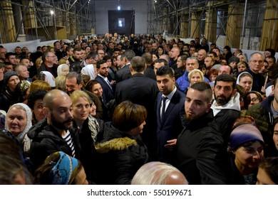 Bethlehem, Palestine. January 7th 2017: Orthodox Christmas Midnight Mass at the Church of Nativity in Bethlehem