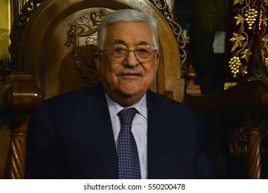 Bethlehem, Palestine. January 7th 2017: Palestinian President, Mahmoud Abbas at Orthodox Christmas Midnight Mass at the Church of Nativity in Bethlehem