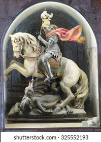 BETHLEHEM, PALESTINE - July 12, 2015 Church of the Nativity in Bethlehem. Sculpture of St. George. Knight on horseback, killing a serpent - dragon. Palestine, July 12, 2015