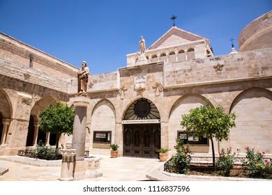 Bethlehem, Palestine, June 11, 2018: Saint Catherine church in Bethlehem.