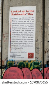 Bethlehem, Palestine Territories - 5/10/2018. The 'Banksy Wall' in the West Bank, Bethlehem covered in graffiti and posters by Banksy and local Palestinian artists recording the struggle for freedom