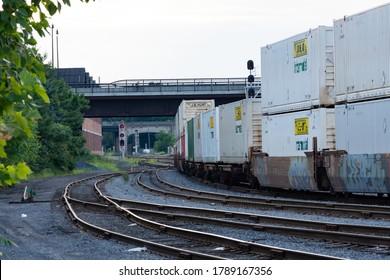 Bethlehem, Pennsylvania 08-01-2020 Freight train in yards at Bethlehem, PA.