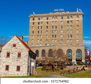 Bethlehem, Pennsylvania / USA - November 26, 2019:  Historic Hotel Bethlehem in downtown Bethlehem PA in the heart of the Lehigh Valley, just minutes from Allentown and Easton, Pennsylvania.