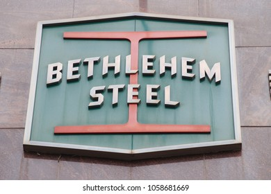 The Bethlehem Steel Corporation logo on the former headquarters in Bethlehem, Pennsylvania. (Photographed March, 29th, 2018)