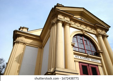 "Betlem (Bethlehem) Church  - protestant church in Brno, Czechia, built in 1895, now belongs to Evangelical Church of Czech Brethren.  Inscription says: ""We preach the Christ."""