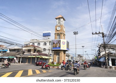 BETONG, THAILAND - DECEMBER 10: The clock tower of Betong, Thailand with the usual traffic in Betong, Thailand on December 10, 2015